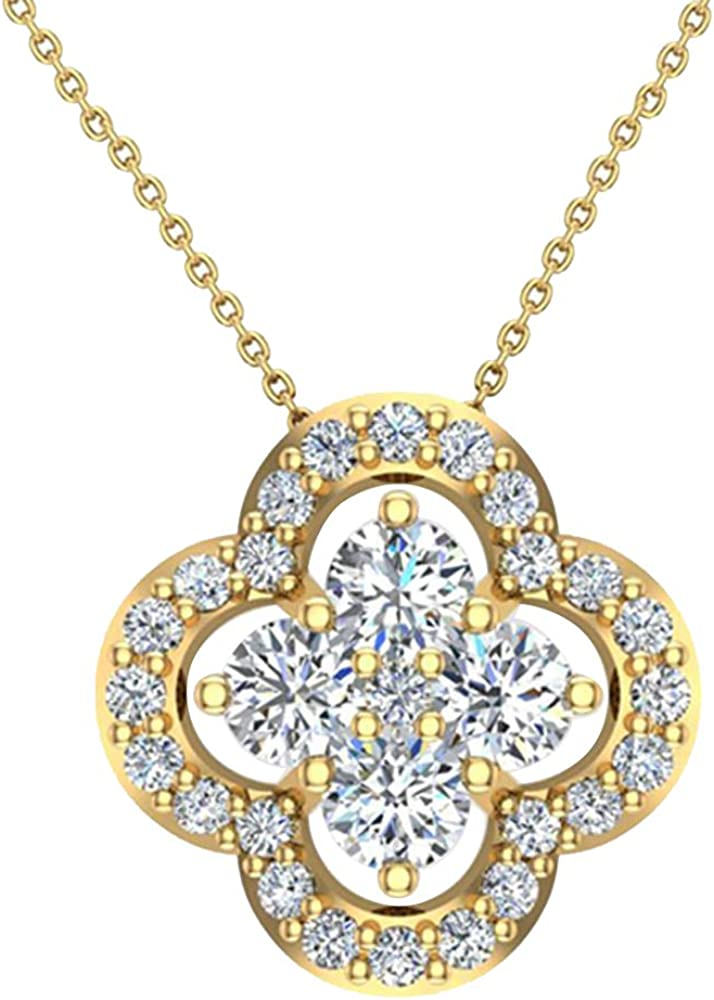 10K Yellow Gold 0.20 Ct Round Cut Simulated Diamond Moon /& Star Pendant necklaces