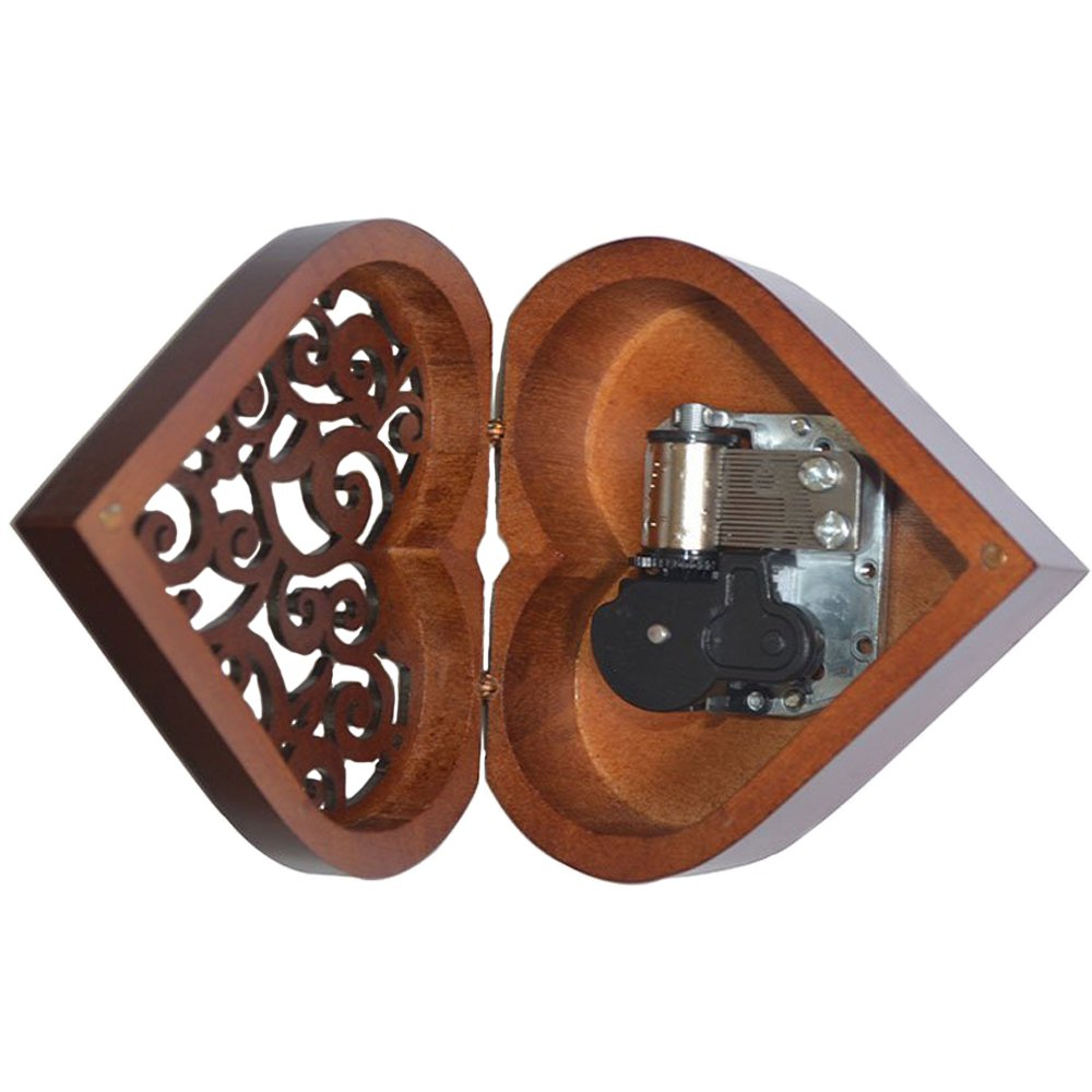 Antique Engraved Wooden Wind-Up Musical Box,You Are My Sunshine Musical Box,with Silver-plating Movement in,Heart-shaped by FnLy (Image #2)