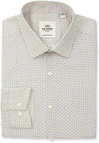 Ben Sherman Men's Geo Print Soho Spread Skinny Fit Dress Shirt, Multi, 17.5