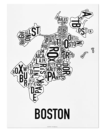 Boston neighborhoods map art poster black