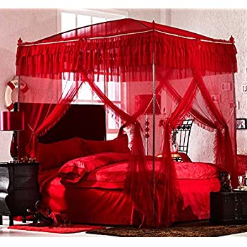 Amazon Com Nattey Red 4 Corner Post Bedding Canopy Mosquito Netting With Frame Post