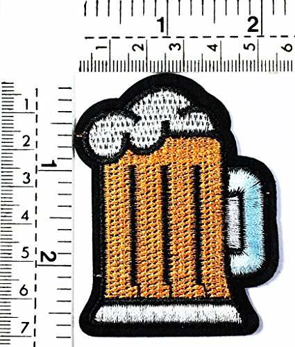 Mug of Beer Glass Alcoholic Cold Brew Drink Kids Cartoon Patch Applique for Clothes Great as Happy Birthday Gift ()