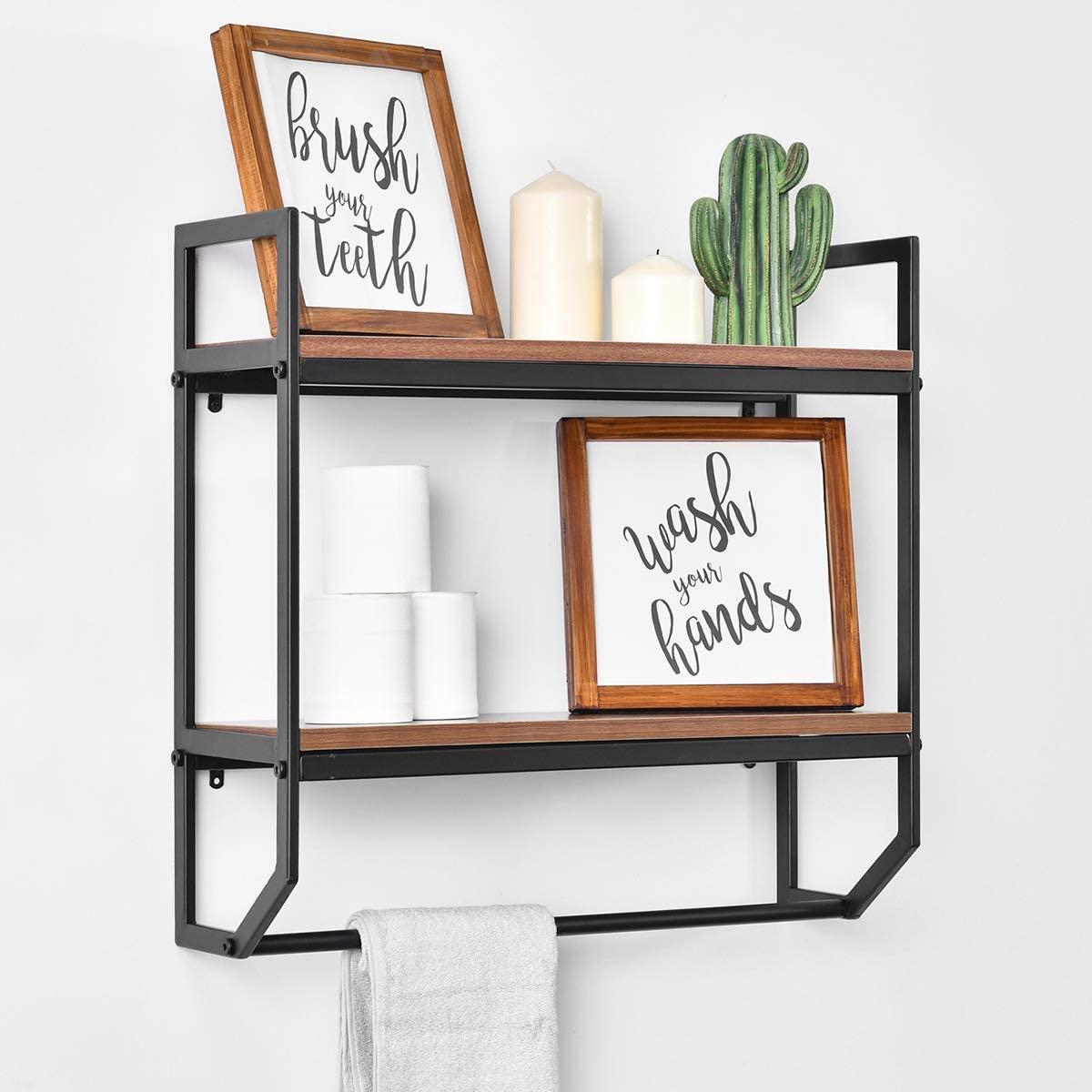 Rustic Bathroom Shelves Wall Mounted Industrial Wood Wall Storage Shelf with Towel Bar 2-Tier Floating Shelves for Bedroom,Living Room,Kitchen 24