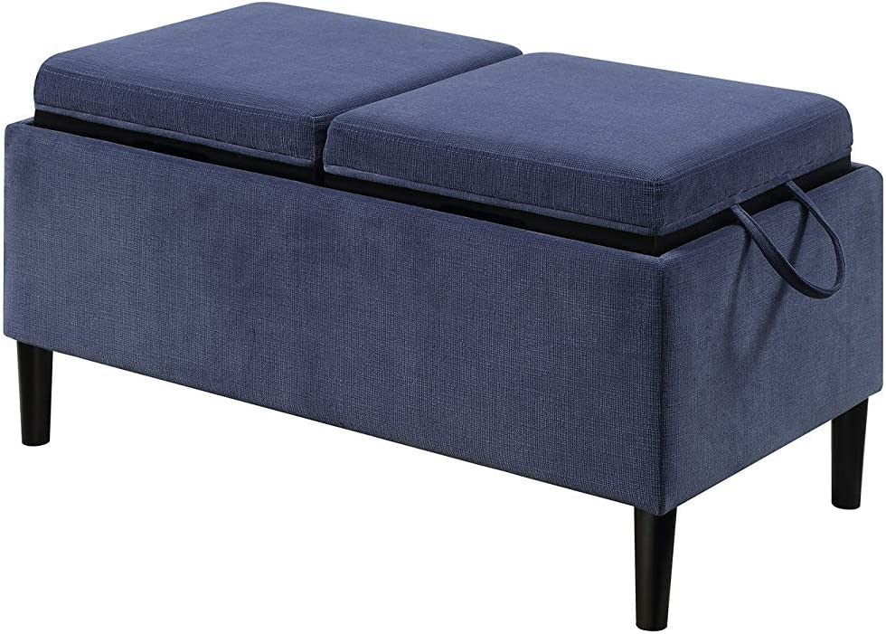 Convenience Concepts 143042BE Designs4Comfort Storage Ottoman, Blue