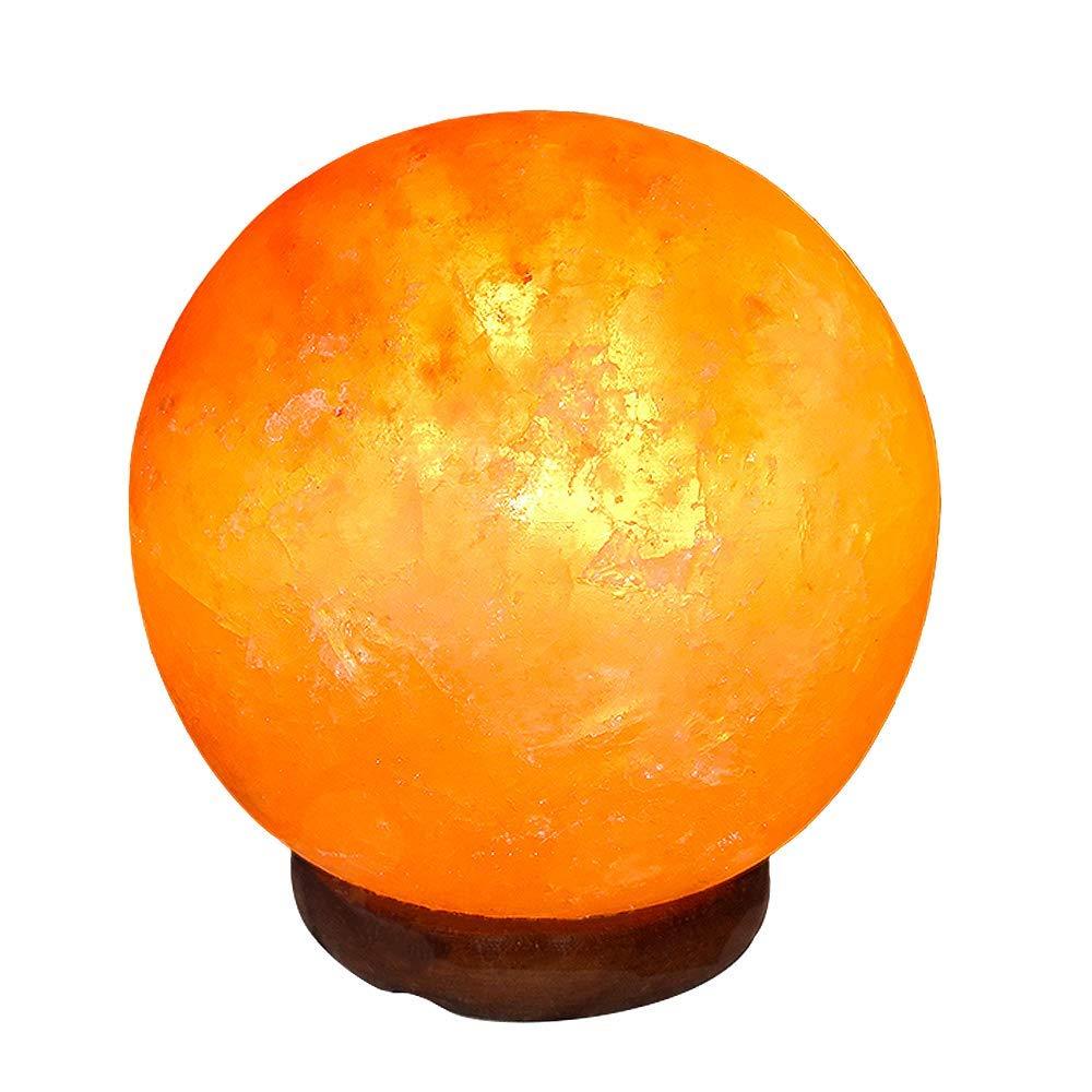塩ランプナイトライト創造的に寝室ランプボール手彫りタリーウッドベース空気浄化、装飾ギフト B07R491FD4