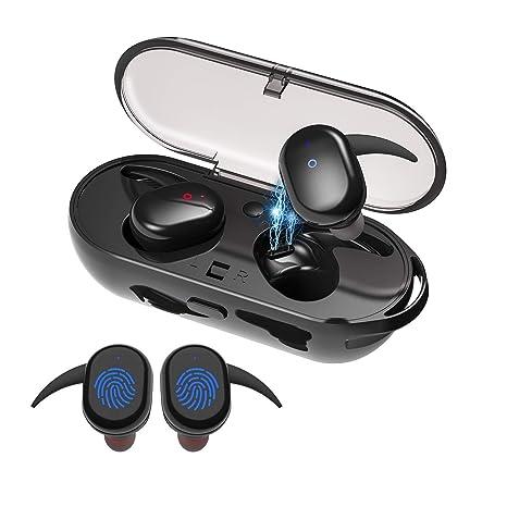 96c3c9e1dce Amazon.com: Wireless Bluetooth Earbuds, Latest Bluetooth 5.0 True Wireless  Earbuds with Charging Case, 3D Stereo Bass Waterproof Sweatproof Earphones  ...