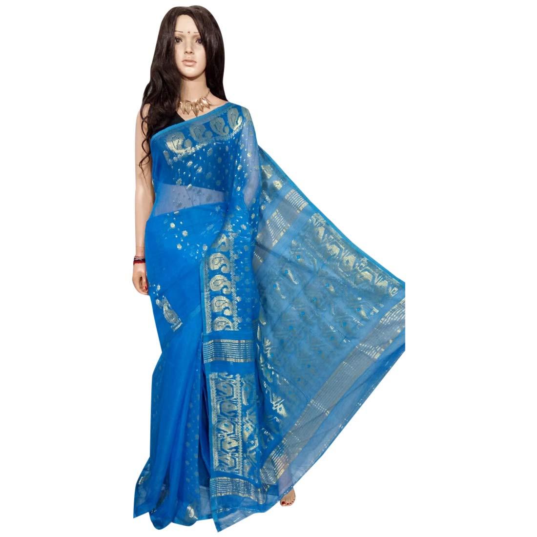 Indian Ethnic Handloom bluee Zari work Zamdani Saree Party Women Wear Sari 101a
