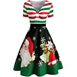 Guesthome Womens Swing Dress - Christmas Stripe Santa Claus Print V-Neck Vintage A-line Dress