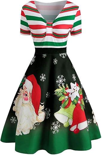 Damska sukienka z dekoltem w kształcie litery V, sukienka bożonarodzeniowa z nadrukiem 3D, elegancka sukienka koktajlowa z nadrukiem w talii: Odzież