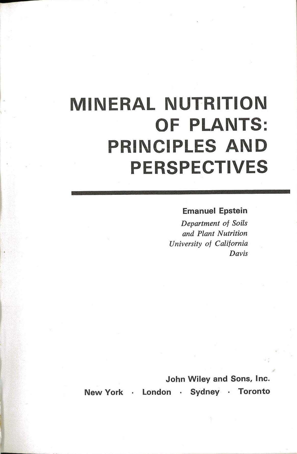 Buy Epstein Mineral Nutrition Of *plants* - Principles Andperspectives Book  Online at Low Prices in India | Epstein Mineral Nutrition Of *plants* ...