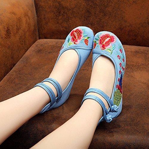 Minetom Vintage Estilo Chino Pintura de Tinta de Plataforma Mary Jane Merceditas de Mujer Flores Bordado Cómodo Casual Zapatos de Party Dress Azul claro