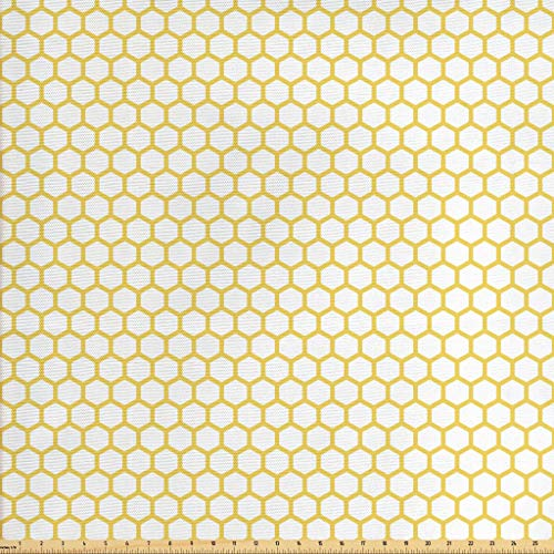 Ambesonne Yellow White Fabric The Yard, Hexagonal Pattern Honeycomb Beehive Simplistic Geometrical Monochrome, Decorative Fabric Upholstery Home Accents, 1 Yard, Yellow White