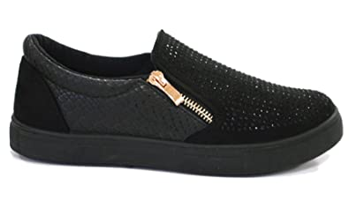 Ladies Womens Flat Diamante Slip On Zip Trainers Plimsolls Sneakers Pumps Size