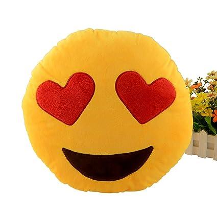 Miryo-Cojín con diseño de emoji Emoticonos Emoticones ojos de corazones suave y cómodo decoración