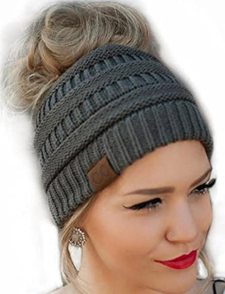 139bea73ee340 Messy Bun Hat Beanie (Grey) CC Quality Knit  Amazon.ca  Luggage   Bags