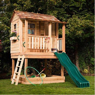 Little Cedar Playhouse with Sandbox (Slide Not (Little Squirt Playhouse)