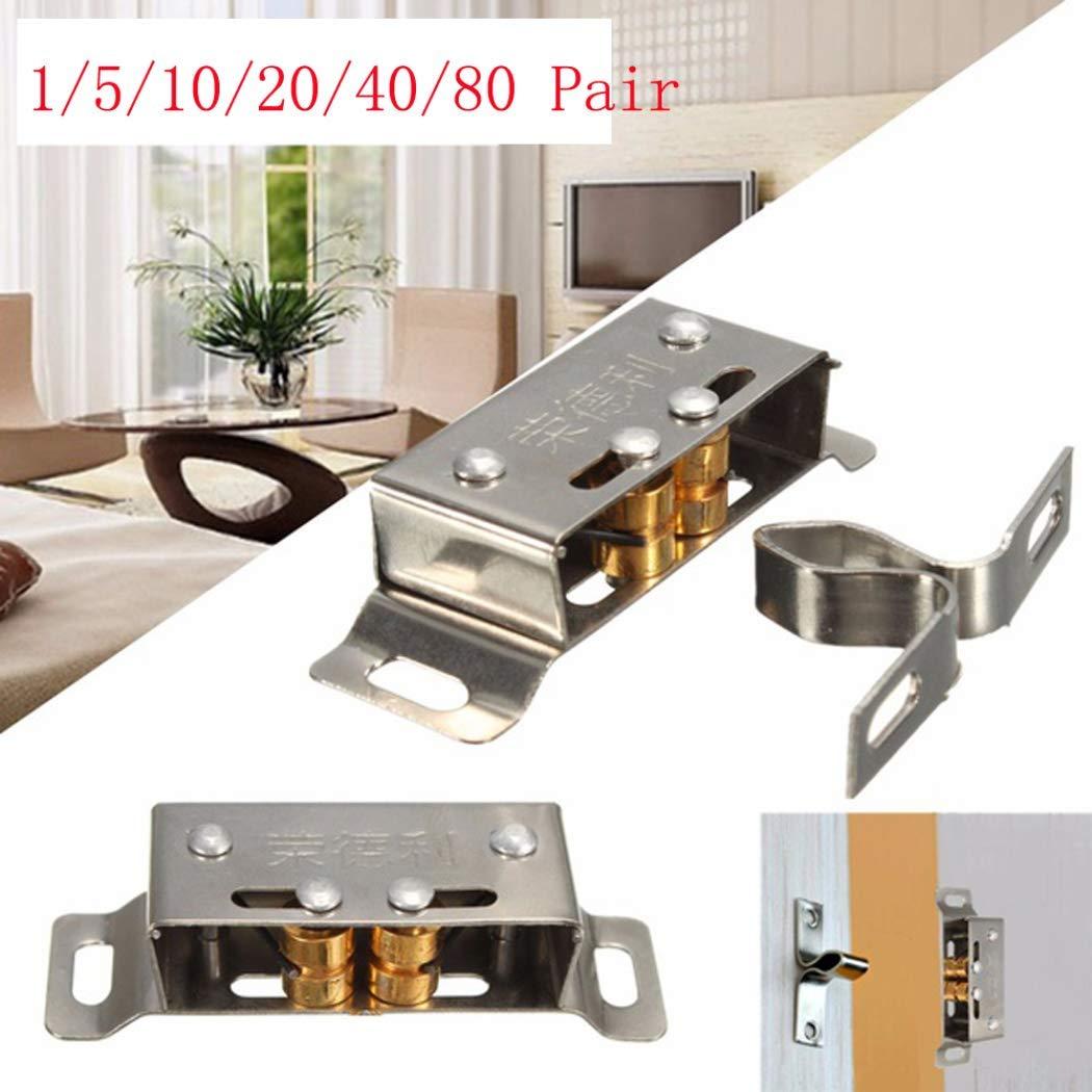 KaiKBax Steel Catch Suck Touch Beads Spring Cupboard Cabinet Kitchen Door Latch Hardware Catch Roller Catch 40 Pair