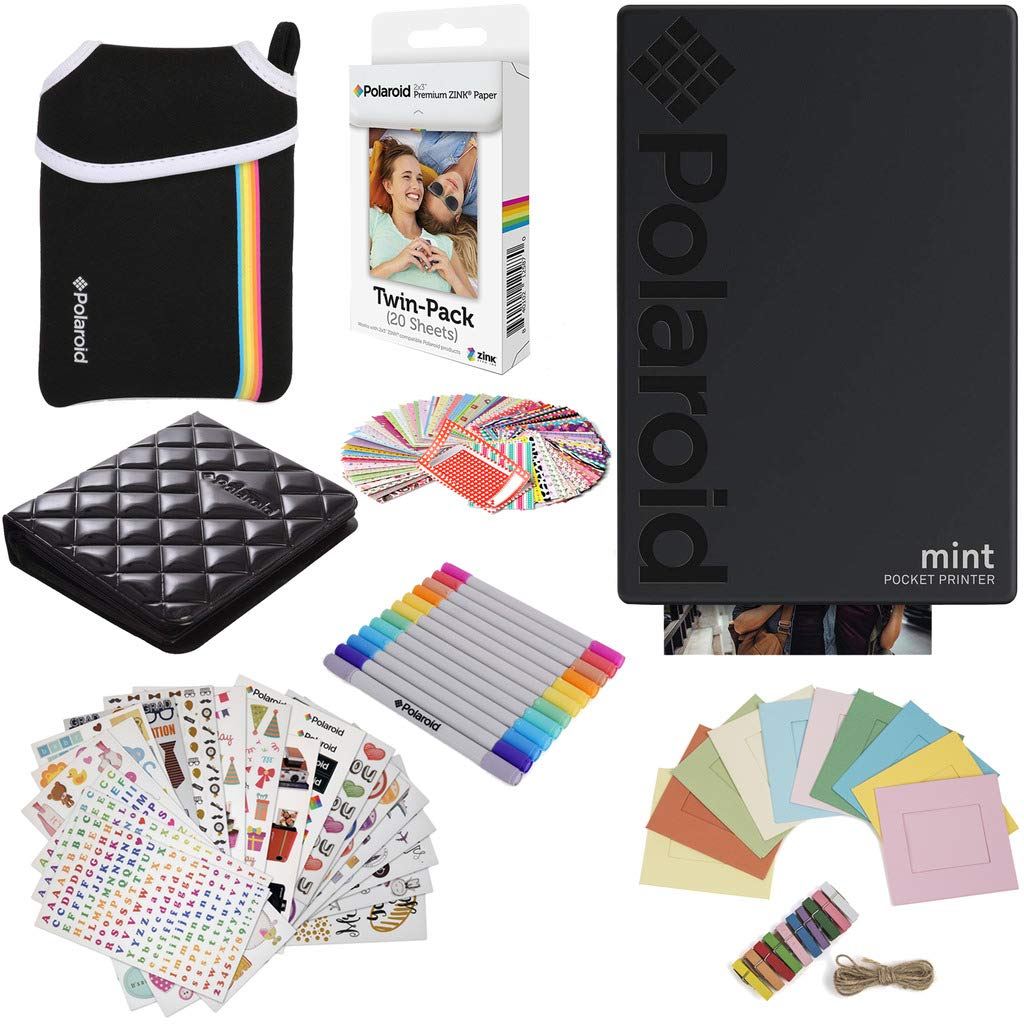 Polaroid Mint Pocket Instant Printer (Black) Gift Bundle + Paper (20 Sheets) + Deluxe Pouch + 9 Fun Sticker Sets + Twin Tip Markers + Photo Album + Hanging Frames + 100 Sticker Frame Set by Polaroid
