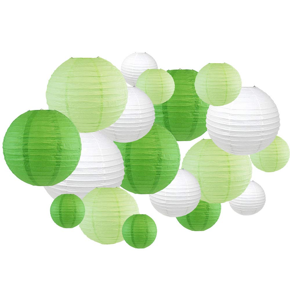 Just Artifacts 18pcs Assorted Size Round Decorative Paper Lanterns (Greens & White)