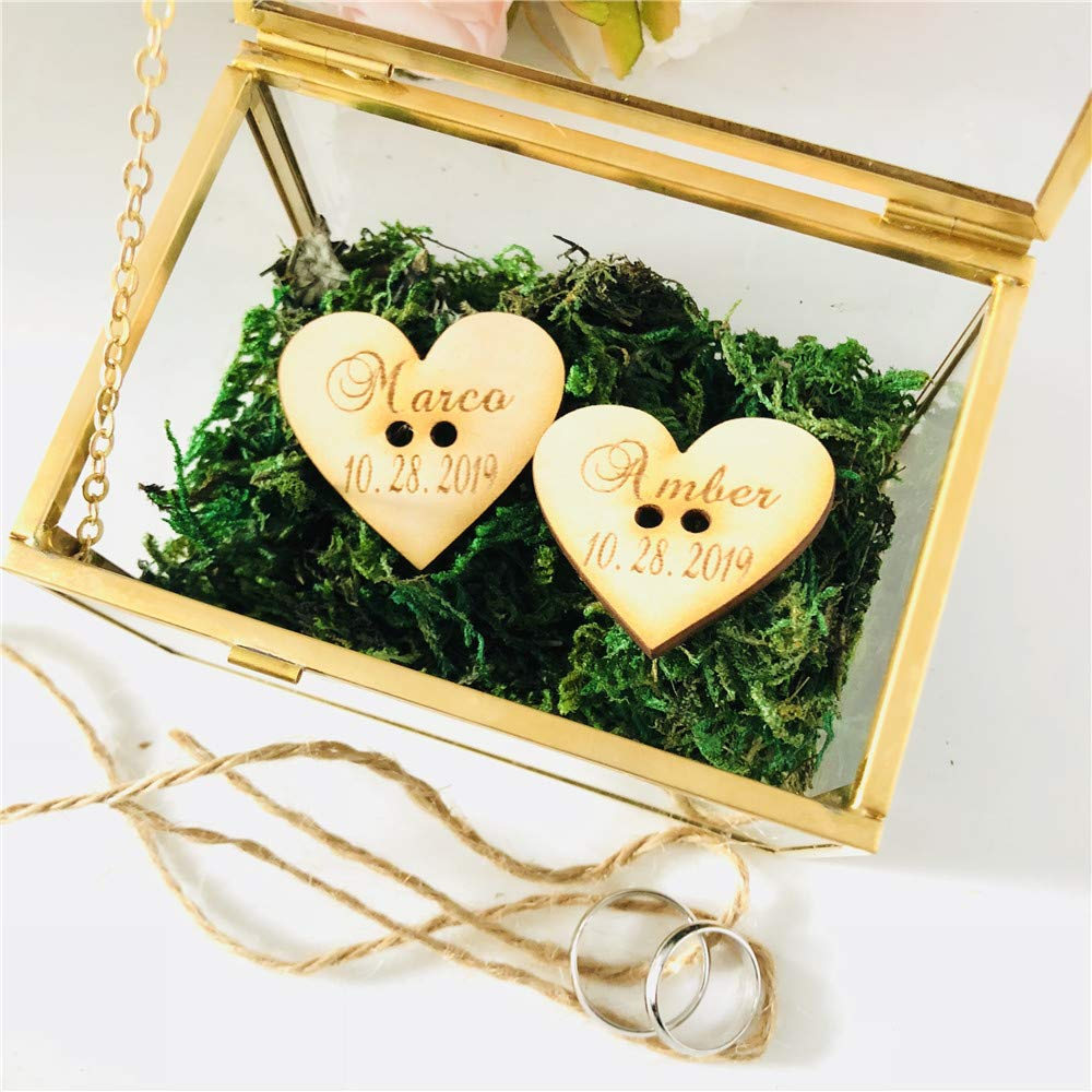Wood Tags Personalized Name Glass Ring Box Wedding Glass with Wood Tag Gifts Holder