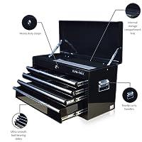 US Pro Tools Servante d'atelier à 6 tiroirs portable noir brillant Tiroirs avec glissières à billes