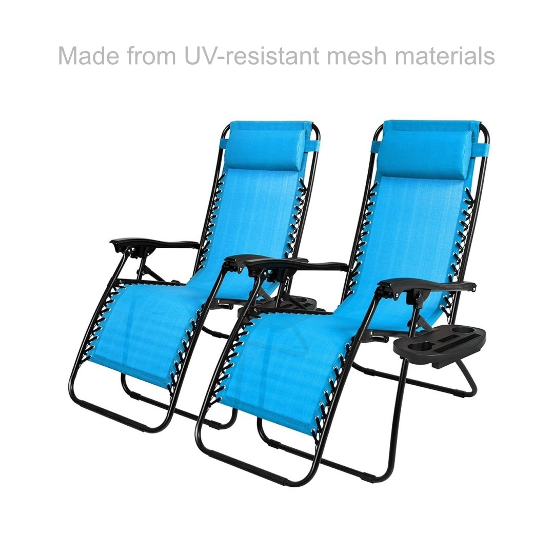 New Modern Zero Gravity Chair Outdoor Patio Adjustable Recliner Comfortable Padded Headrests and Armrest w/Cup Holder - Set of 2 Light Blue #1904 by koonlert14