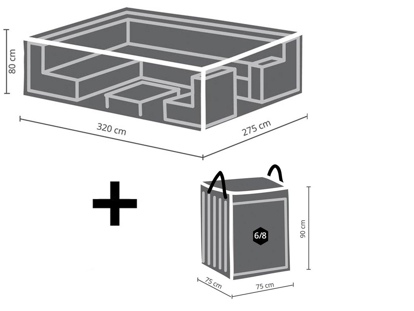 Schutzhüllen Set: Abdeckung 320x275cm für Garten Lounge Set + Hülle für 6-8 Kissen