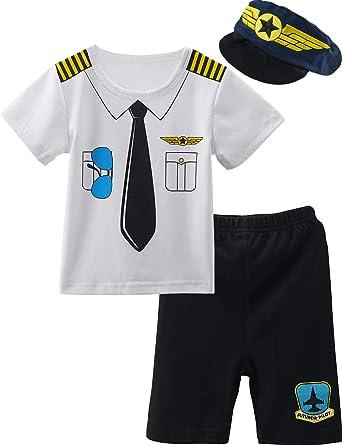 MOMBEBE COSLAND Conjunto de Camiseta Piloto para Bebé Niños Manga Corta 3-24 Meses