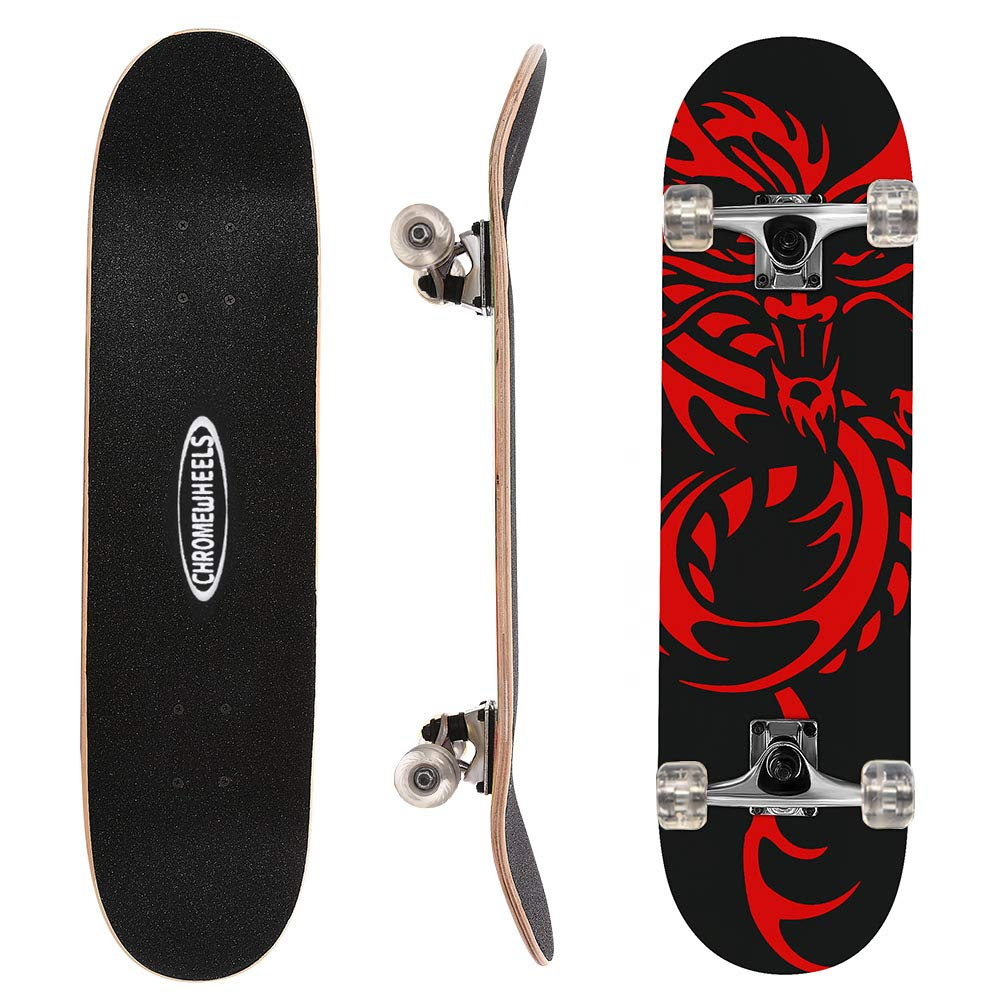 ChromeWheels 31 inch Skateboard Complete Longboard Double Kick Skate Board Cruiser 8 Layer Maple Deck for Extreme Sports and Outdoors by ChromeWheels