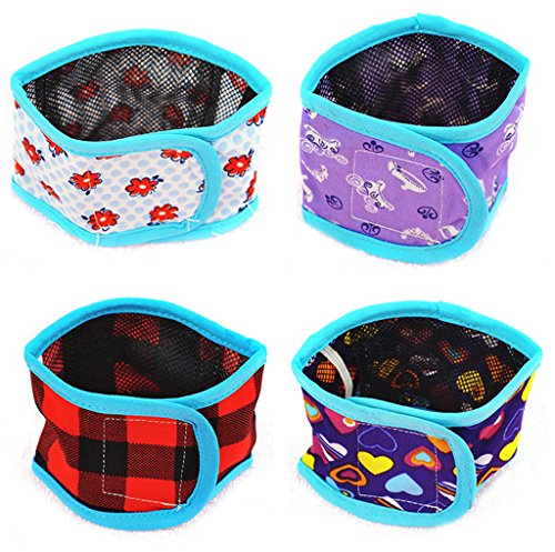 Image of Bwogue Dog Belly Band (Pack of 4) Boy Puppy Diapers with Velcro Washable Reusable for Small Male Pet Dog Diapers Pants