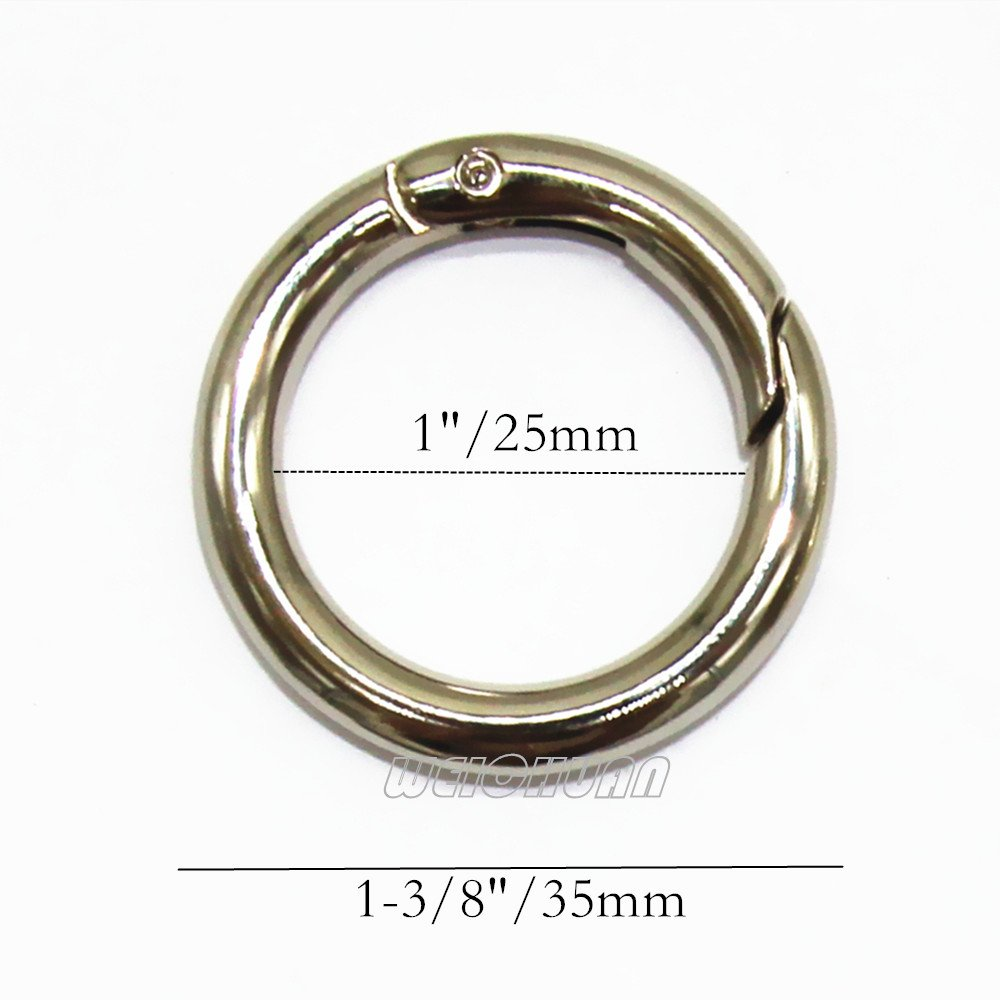 WEICHUAN 10PCS Spring Clip Round Carabiner 1-1//4 Gate O Ring Round Carabiner Snap Clip Trigger Spring Keyring Buckle Organizing Accessory//Metal Secure Holder//Durable and Rust-Proof Silver