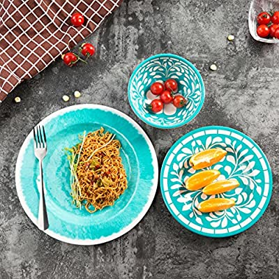 "Dinnerware Set for 6-18pcs Melamine Dinner Plates Set, Service for 6, Green - 👉🏻 This dinnerware set for 6 including 6 x 11"" dinner plates - 6 x 8 1/2"" salad plates - 6 x 6"" 17oz bowls, Service for 6. 👉🏼 This dinnerware dishes set made of melamine, so it is unbreakable and lightweight, 👉🏽 This melamine dinner plate set very suit for indoor and outdoor activity, such as camping, rv, party, picnic, banquet etc. - kitchen-tabletop, kitchen-dining-room, dinnerware-sets - 61p5NSM3aqL. SS400  -"