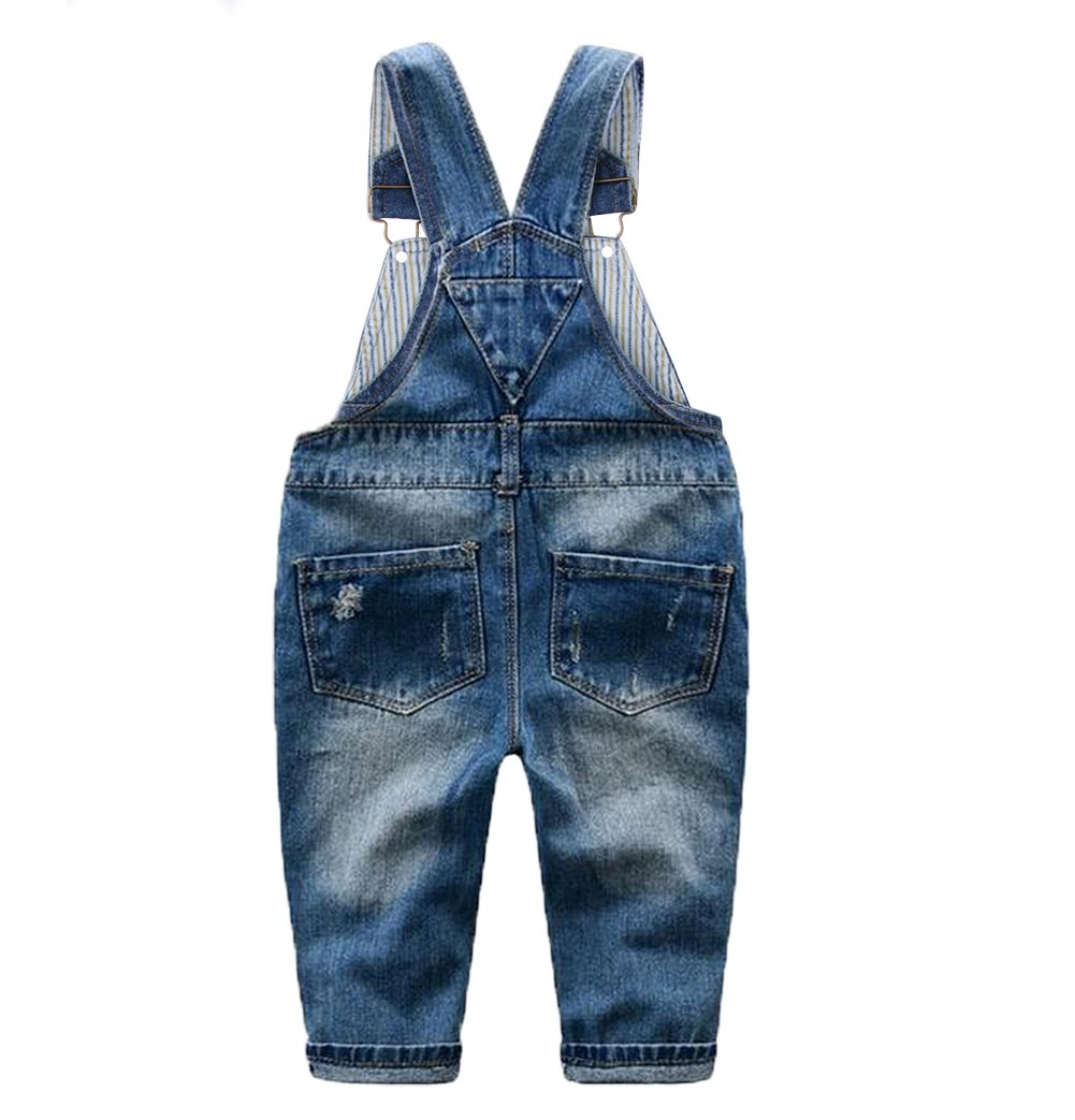 Tortor 1Bacha Little Girls' Ripped Distressed Denim Bib Overall 3T by Tortor 1Bacha (Image #2)