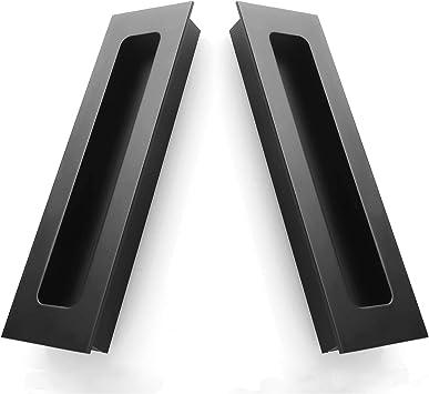 Tiradores de dedos, tirador de puerta corredera abrazadera con asas empotrables con tornillos ocultos ocultos para armarios, armarios, cajones – 2 paquetes, 5,59 1,69 1,62