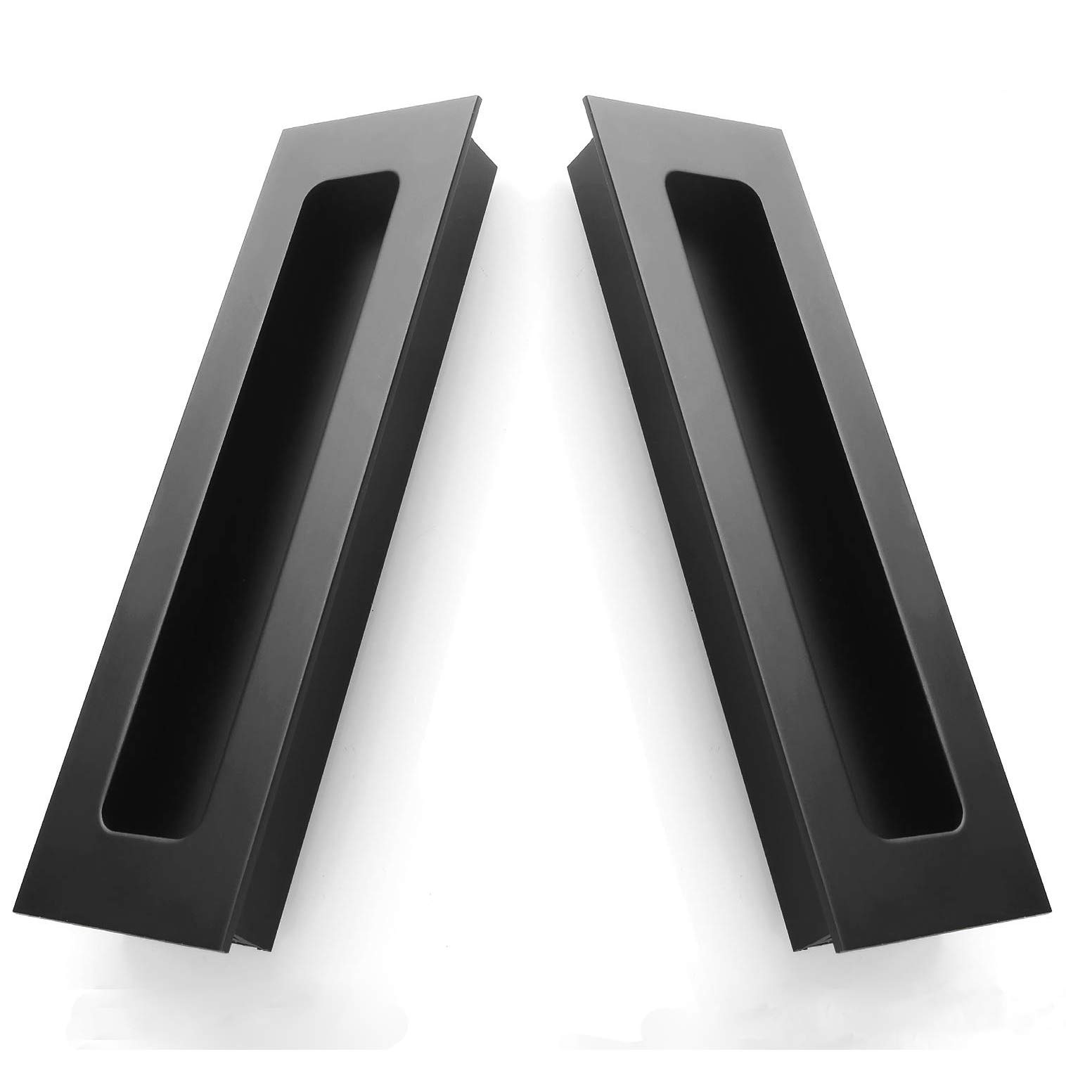 2 Packs Finger Pulls,Abuff Sliding Door Flush Pull Recessed Flush Handles with Hidden Concealed Screws for Cabinets, Closet, Drawers -  5.59''x1.69''x0.62''