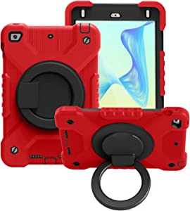 Ultra Slim Case Tablet Case for iPad Mini4/5,Kids Durable Shockproof Protective Cover, with Folding Handle Stand, Rotating Kickstand,Carrying Shoulder Strap Tablet Back Cover ( Color : Red+Black )