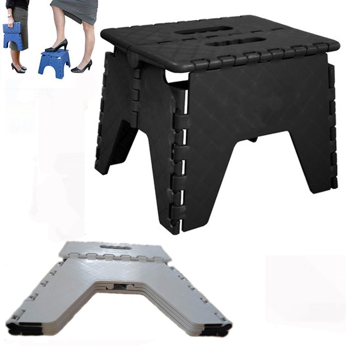 Folding Step Stool Plastic Foldable Heavy Duty Small Stool Easy Store Handy Chair