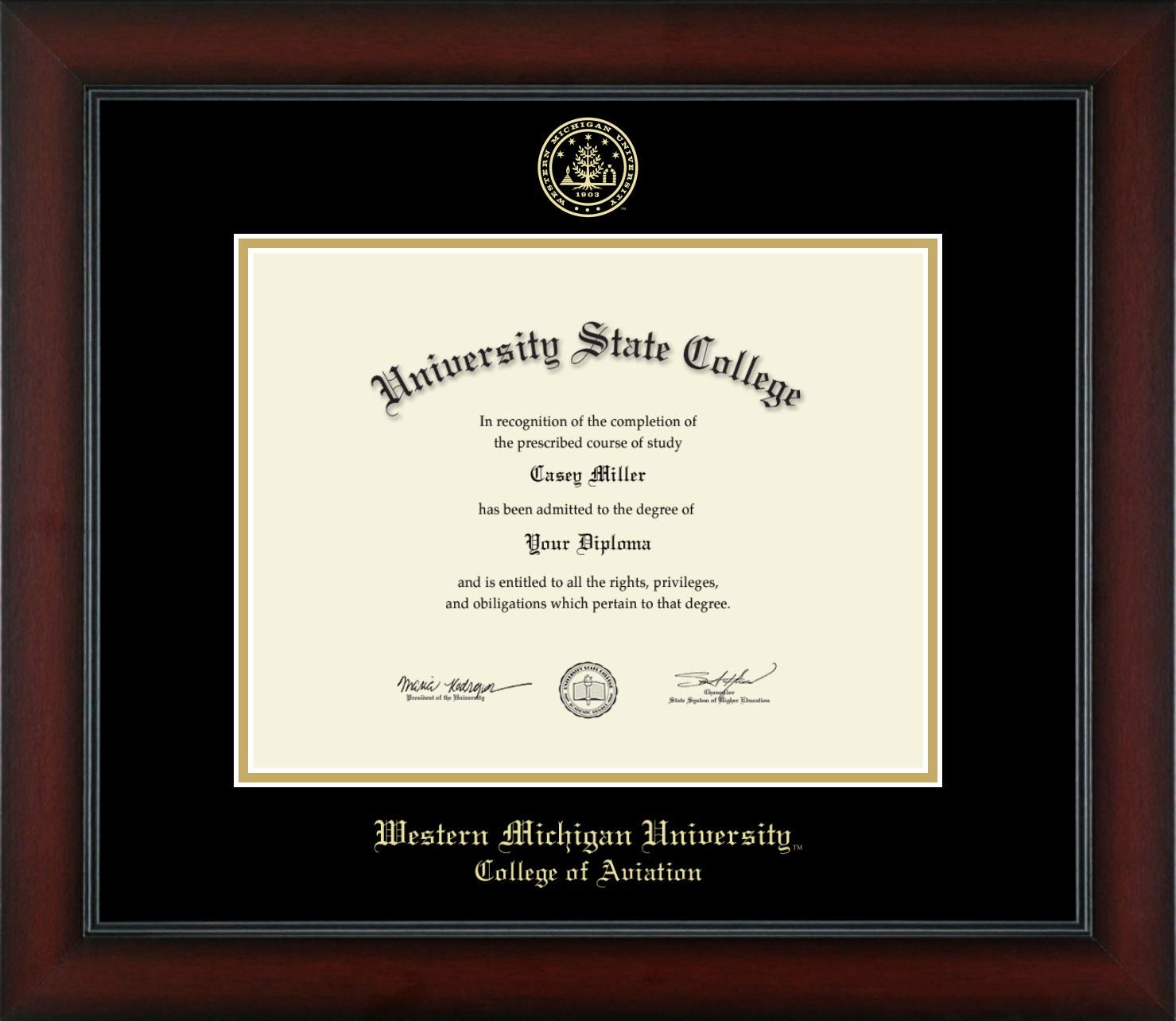 Western Michigan University College of Aviation - Officially Licensed - Gold Embossed Diploma Frame - Diploma Size 11'' x 8.5''