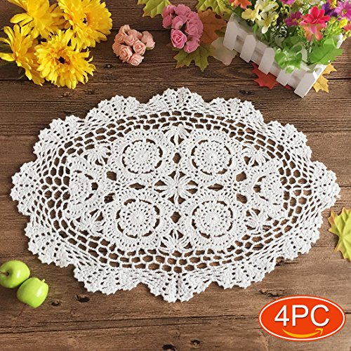 Elesa Miracle 12 X 18 Inch 4pc Handmade Oval Crochet Cotton Lace Table Placemats Doilies Set, Oval, White (12