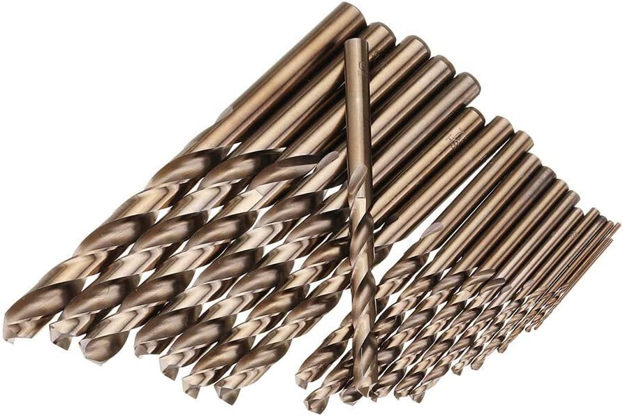 Nologo 19PCS 1-10mm HSS M35 Cobalt Twist Drill Bit Set for Metal Drilling Tools Kit Parts Accessories Good Professional Quality