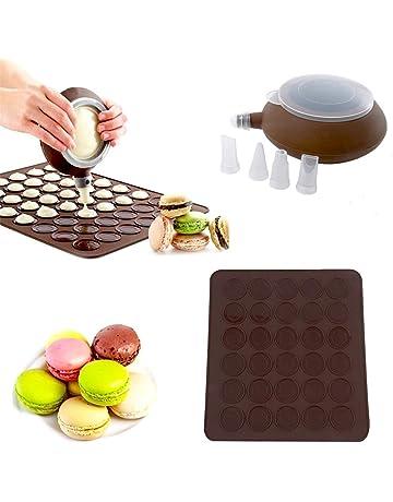 SOEKAVIA 48-capacity Juego molde para hornear Macarons de silicona con decoración Juego de bolígrafo