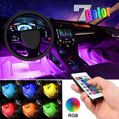 Car LED Strip Light, EJ's SUPER CAR 4pcs 36 LED Multi-color Car Interior Lights Under Dash Lighting Waterproof Kit with Multi-Mode Change and Wireless Remote Control, Car Charger Included,DC ()
