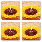Liili Natural Rubber Square Coasters IMAGE ID: 13408096 Sunflower candle on bamboo background