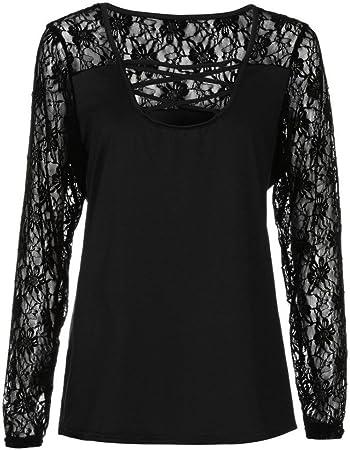 Fossen Blusas para Mujer Gordita Tallas Grandes Camisa de Manga Larga Camiseta de Patchwork de Encaje