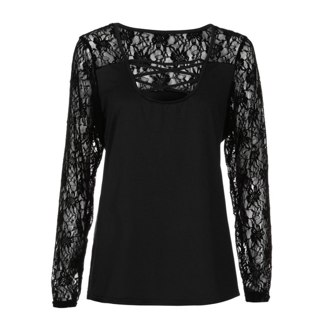 Fossen Blusas para Mujer Gordita Tallas Grandes Camisa de manga larga Camiseta de Patchwork de encaje: Amazon.es: Ropa y accesorios