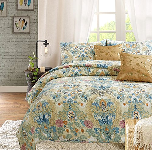 Quilt Flowers Art (Cozy Line Home Fashions Luxury Classic Bedding Quilt Set, 100% COTTON Beige Blue Floral Pink Flower Bohemian Style Reversible Bedspread Coverlet Gifts for Women (Art Painting, Queen - 3 piece))