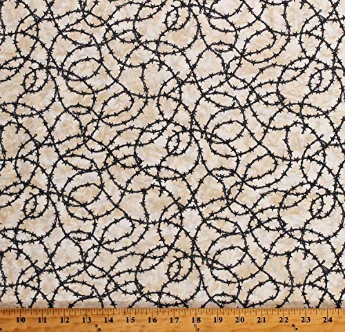 Cotton Barbed Wire Allover Tangled Barb Wire on Cream Western Southwest Best of Texas Cotton Fabric Print by The Yard (D501.33)