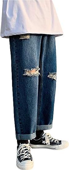 Alppvデニムパンツ メンズ 春 ダメージ メンズ ジーンズ ストレッチ ストレート ファスナー 9分丈 パンツ 通勤 通学 ファッション ズボン ボトムス カジュアル ストリート ベーシック