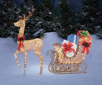 68 gold reindeer sleigh gift box presents display outdoor christmas yard lawn sculpture decoration seasonal - Outdoor Christmas Sleigh Decorations