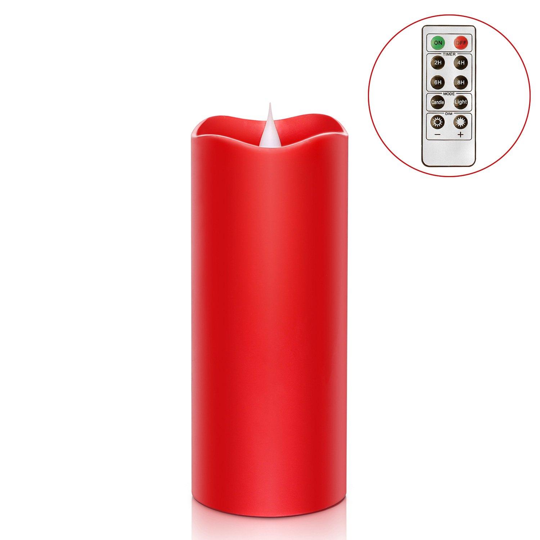 SIMPLUX 3D-LED-Kerze, feuerlose Flamme, LED-Echtwachs-Stumpenkerze mit Timer, rot, 3 x 7